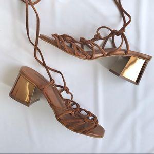 TOPSHOP Suede Wrap Gold Block Heel Sandal